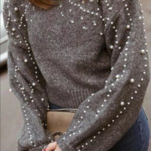 Iconic Zara Gray Cropped Faux Pearl Sweater M
